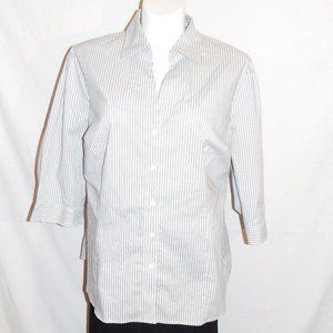 3X Worthington Blue Gray White Stripe Top NWT
